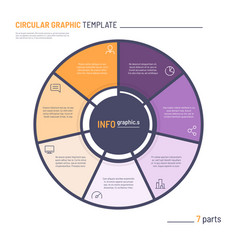 infographic circle chart template seven vector image