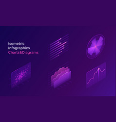 isometric infographic charts and diagrams vector image