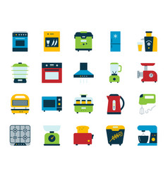 Kitchen appliance simple flat icons set vector