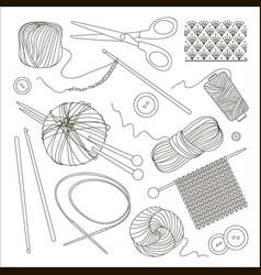 knitting and crochet set vector image