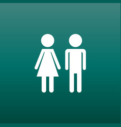 Man and woman icon on green background modern vector
