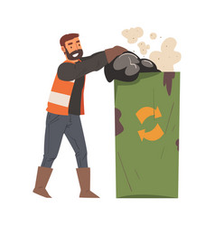 Man janitor throwing garbage bags into recycling vector