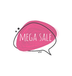 mega sale sign on grunge textured geometric badge vector image