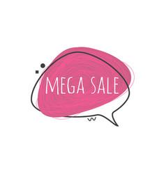 Mega sale sign on grunge textured geometric badge vector