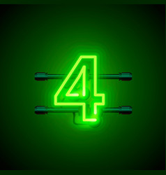 neon city font sign number 4 signboard four vector image