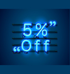 Neon frame 5 off text banner night sign board vector