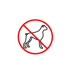 No dog line icon prohibition sign forbidden vector