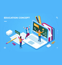 Online education page for smartphone application vector