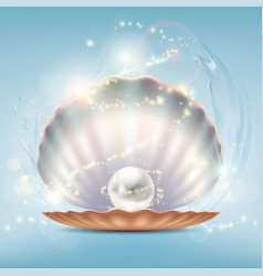 Open beautiful shell with a precious pearl vector