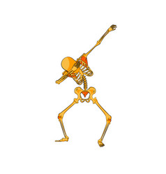 orange yellow skeleton character dancing dab step vector image