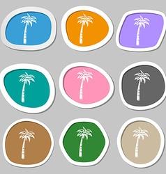 Palm symbols Multicolored paper stickers vector image