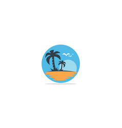 palm tree beach nature logo vector image
