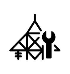 power line repair black glyph icon vector image