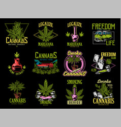 Print set cannabis design vector
