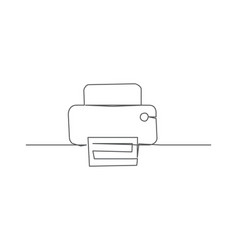 printer one line drawing vector image
