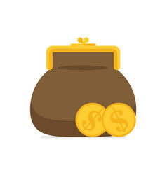purse and coin modern flat vector image