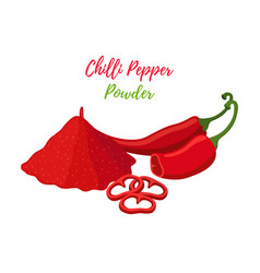 Red chilli pepper powder in pile slices vector