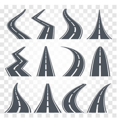 roads set highway on vector image