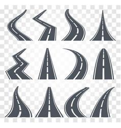 roads set highway vector image