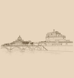 rome cityscape with st peters basilica and castle vector image