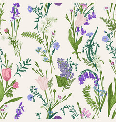 seamless botanical pattern floral background vector image