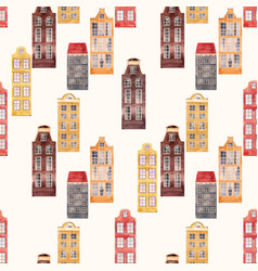 Seamless pattern old european city houses vector