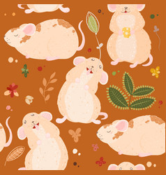 seamless pattern with cute mouses in scandinavian vector image