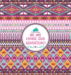 Seamless tribal pattern with geometric pattern vector