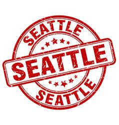 Seattle red grunge round vintage rubber stamp vector