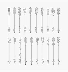 set black hand drawn arrows vector image