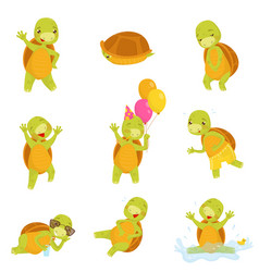 Set cute green turtle in different actions vector