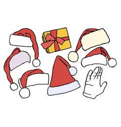 set doodle christmas hats bag vector image