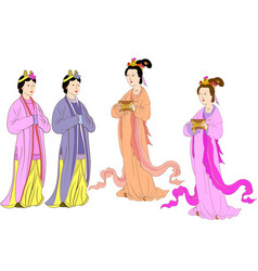 Set for chinese women of yuan or mongol dyn vector