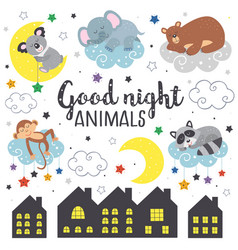 set isolated sleeping animals part 2 vector image