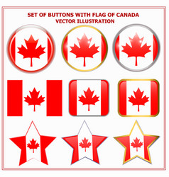 set of buttons with flag of canada vector image