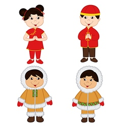 Set of isolated children of chinese and eskimo vector