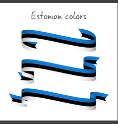 set of three ribbons with the estonian tricolor vector image