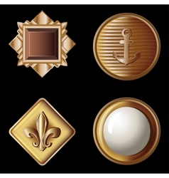 set of vintage gold buttons vector image