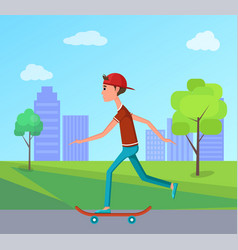 side view skateboarder riding city park skateboard vector image