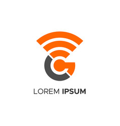 Signal wifi wireless hotspot icon letter g logo vector