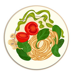 spinach with spaghetti icon cartoon style vector image