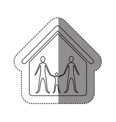 Sticker of monochrome contour of family in home vector