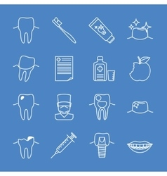 Stomatology dental line icons vector image