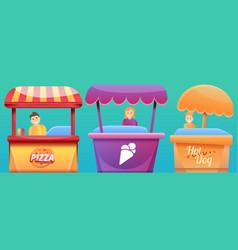 Street food kiosk concept banner cartoon style vector