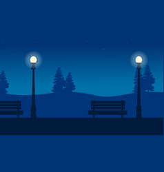 Street lamp and chair on garden scenery vector