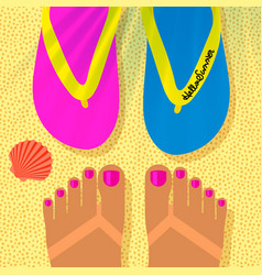summer vacation template with tanned womans feet vector image