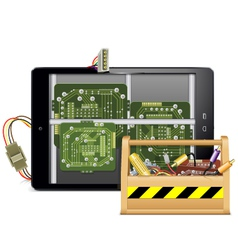 Tablet PC with Toolbox vector image