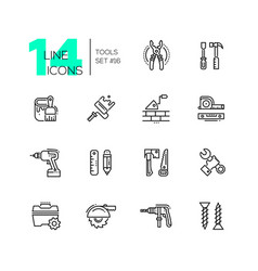 Tools - modern single line icons set vector