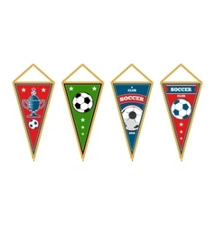 Triangle soccer pennants set isolated white vector