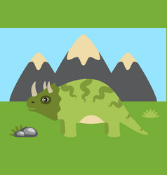 Triceratops and wild nature vector